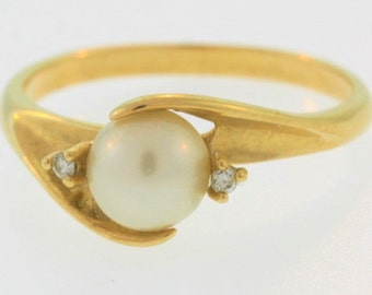 Antique Pearl And Diamond Statement Ring- 14k Yellow Gold