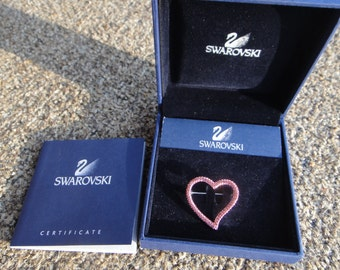 Signed Swarovski  Heart Pin /Brooch Retired Rare in case with Certificate , gift,  swarovski heart brooch