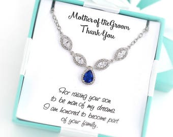 Wedding Necklace Platinum Navy blue Zirconia Necklace CZ Necklace Wedding Jewelry Bridesmaid gifts Bridesmaid Jewelry Bridal Necklace Rae