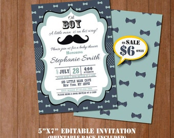 Mustache Baby Shower Invitation-Self-Editing Little Man Baby Shower Invitation-Printable Mustache Invitation-Little Gentleman Party-B409-MU