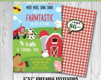 Self-Editing Farm Birthday Invitation-Farm Party Invitation-Printable Barnyard Party Invite-Farm Animal Party-First Birthday-Any Age-A111-R