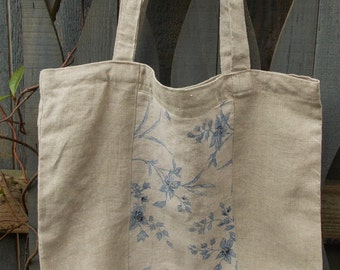Up-cycled linen tote bag