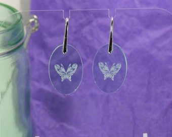 Green Glass Acrylic Butterfly Earrings