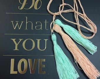 Handmade crochet chain braided necklace with 3 long tassels // Boho style // festival necklace
