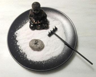 KARESANSUI mini garden ZEN, with Buddha, rake, sand white and candle zen