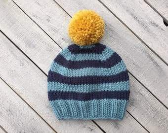 Striped Baby Boy Beanie, Knitted Infant Winter Hat for Boy, Newborn Pom Pom Hat, Boy Coming Home Outfit, Photography Prop Hat, Gift for Baby