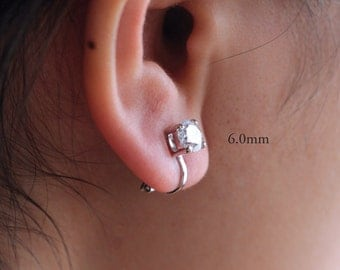 Solitaire CZ Clip-On Earrings <> 4 Prong Setting <> Round Diamond Cut Clear CZ Earrings <> Sparkling CZ Earrings <>  [6.0mm to 10.0mm]