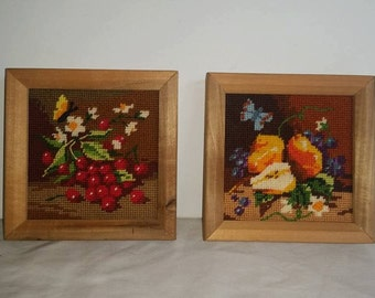 Vintage Needlepoint, Framed Wall Art, Home Decor, Fruit, Pears, Cherries, Flowers, Butterflies, Nature