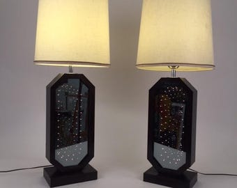 Pair Mid-Century Infinity light mirror table lamps