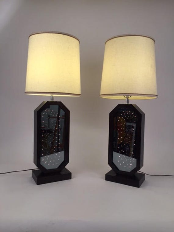 Pair Mid-Century Infinity light mirror table lamps