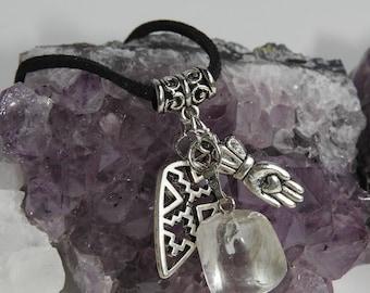 Energizing crystal smoky quartz necklace - anti emf - reiki jewelry - chakra balancing - celtic charms quartz pendant - mystical jewellery