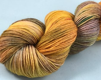 "Hand Dyed Sock Yarn, Superwash Wool & Nylon ""Mayan Maize"""