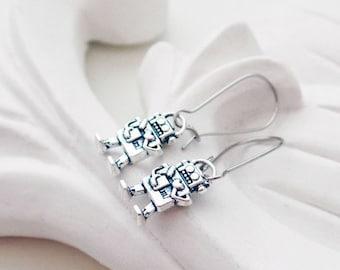 Silver Robot Earrings | Silver Dangle Earrings