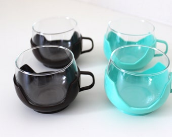 Vintage tea cups, Cup, cups, glasses, punch, Brown turquoise, Germany 70 years