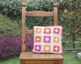 "Crocheted cushion mod. ""Carnelian""-100% cotton-35 x 35 cm"