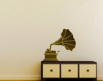 Phonograph Decal - Phonograph / Victrola / Vintage Decor / Vintage Decal