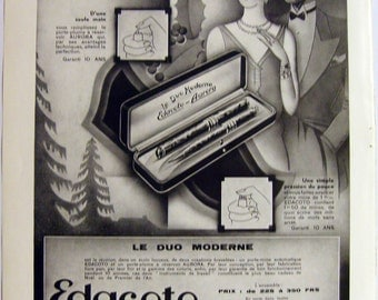 """Original Vintage 1931 """"EDACOTO AURORA"""" Advert (Fountain Pens) from a French magazine (full page 11'x15'/28x38cm)"""
