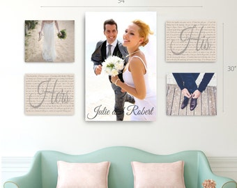 Wedding Vow Photo Canvas Display Set of 5, One 20x30 AND Four 11x14, Wedding Photo Canvas Display, Wedding Vow Art Collage Display Canvas
