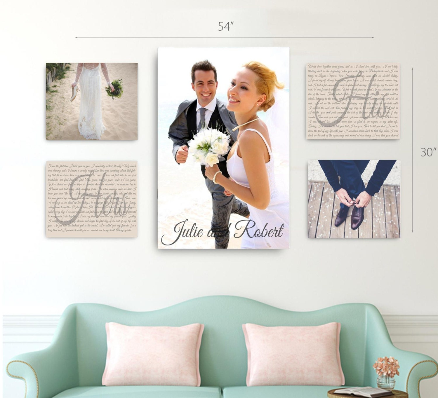 Wedding Vow Photo Canvas Display Set Of 5 One 20x30 AND Four