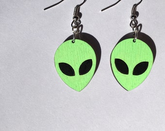 Alien Head Dangle Earrings