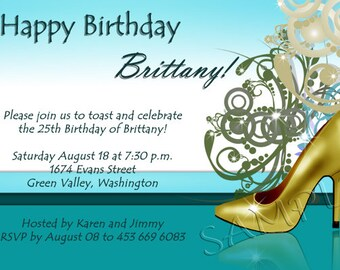 Customized Invitation Birthday Party Bridal Shower Adult Male Female Card Printable Digital Custom Heels Girly