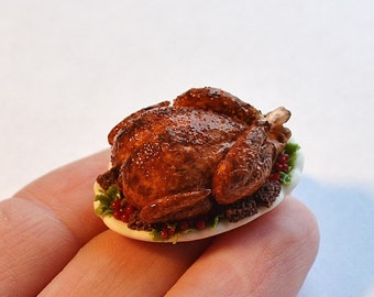 Dollhouse miniature Christmas, miniature turkey, Christmas miniature food, scale one inch, miniature Christmas, Dollhouse Christmas