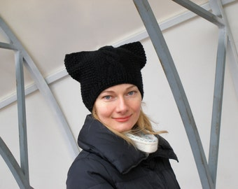 Black pussyhat pussycat hat crochet pussyhat cat lover gift black cat hat black hat womens march hat womens rights are human rights girl hat