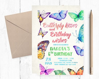 Butterfly Invitation, Butterfly Birthday Invitations, Butterfly invites, Butterfly invite, Butterflies Birthday Party,  Butterfly kisses,