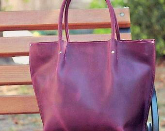 Leather Tote Bag Zipper • Handmade Shopper Bag • Large Claret Tote Handles • Tote Purse • Zippered Tote Bag • Top Closure • Cute Purse