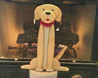 Wooden Dog yellow labrador retriever golden retriever dog art
