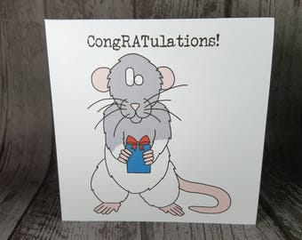 """Rat animal pun """"CongRATulations"""" Congratulations Greetings Card by Relephant Cards. Handmade. Customisable. Recycled. Blank. Square."""