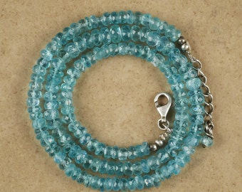 18in Sky BLUE APATITE Necklace Faceted Bead Necklace - Chakra Jewelry with Graduated Apatite Beads and Sterling Silver Clasp J858