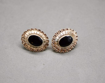 Vintage Black Onyx Sterling Silver Earrings, Sterling Silver, Black Onyx, Black Onyx Earrings, Gift for Mom, Gemstone Jewelry, Black Studs