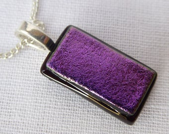 Purple magenta pendant dichroic iridescent glass necklace birthday anniversary Christmas Mothers Day gift for her wife girlfriend Mum sister