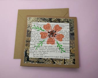 Floral greetings card made with recycled materials