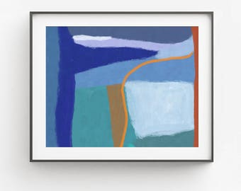 Modern Blue Abstract Art, Abstract Painting, Wall Art, Modern Painting, Modern Wall Decor, Bedroom Decor, Abstract Art, Printable 16x20 8x10