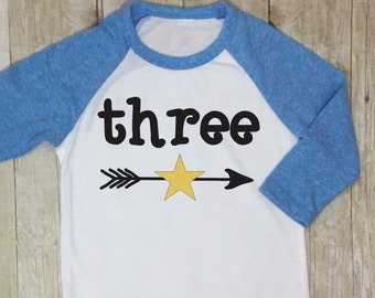 Three Birthday Shirt-Third Birthday Shirt-3rd Birthday Shirt-Boys Third Birthday Shirt-Boys Birthday Raglan-Boys Third Birthday Raglan