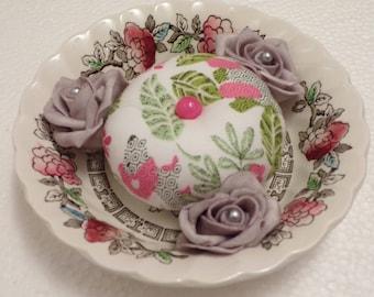 Myott, Sewing Pin Cushion, Handmade, vintage dish, pin cusion, sewing accessory