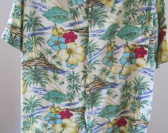 Hawaiian Shirt, Men, Size Large, Gallery Limited, 100% Rayon, Vintage