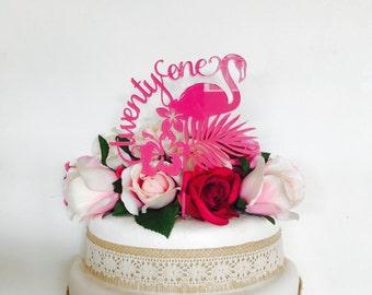 Twenty One Flamingo Cake Topper 21st Birthday Cake Topper Cake Decoration Cake Decorating Birthday Cakes twenty one Cake Happy 21st Birthday