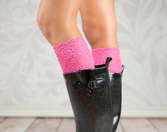 Savannah's Pink Lace Boot Cuffs