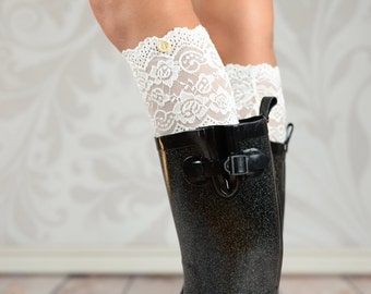 Sara's White Button Lace Boot Cuffs