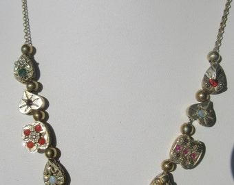 Multi Gemstone Slide Necklace, Silver Slide Necklace, Slide Necklace, Gemstone Slides, Vintage Slides, Vintage Slide Jewelry, Necklace