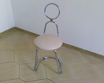 Vintage chair bath / steel and faux leather chair / chairs of the 70