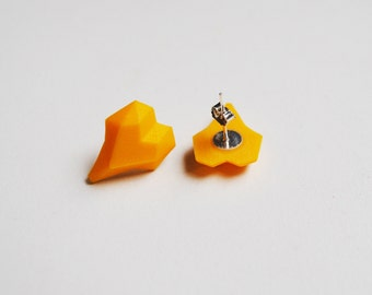 Yellow Heart Earrigns 3D Printed Stud Earrings