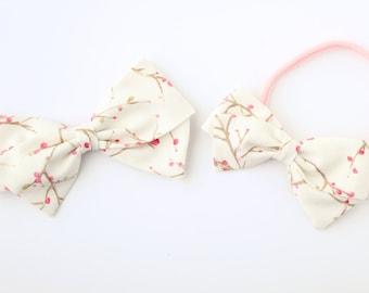 Cherry Blossom Bow - Girl's Hair Bows - Nylon Headbands and Bows