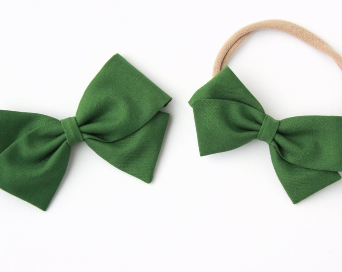 Hunter Green Hair Bows - Fabric Bows on Nylon Headbands and Clips - Small and Large Bows