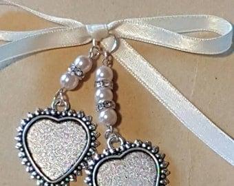 Double Wedding Bouquet Photo Frame Charm Heart shaped Locket Pendant  and Organza Keepsake Gift Bag