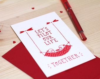 Valentine's card, sweet card, love card, illustrated card, love is in the air