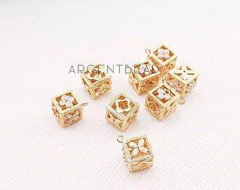 Newest 8x8mm symbol CZ pendant, A048 2 pcs Cubic Pendant Polished Gold-Plated CZ charms,monogram, jewelry Making,